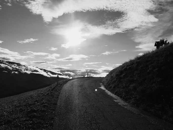 Road Tarmac Sun Against The Sun Road Sky The Way Forward Transportation Cloud - Sky Landscape Day Outdoors Nature No People Scenics Sunlight Beauty In Nature