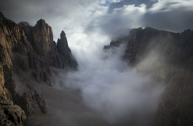 Panoramic view of mountains against cloudy sky