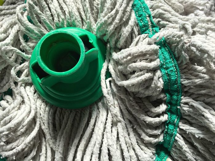 High Angle View Green Color Close-up Cleaning Equipment Cleaning Mops Mop Head