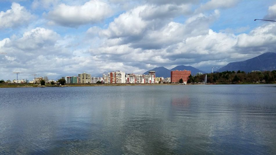 Cloudy Day Artificial Lake Of Tirana Cityscape Photography Reflections In The Water Mauntains Water City Mountain Sea Beach Sky Architecture Cloud - Sky Settlement Waterfront Cityscape Countryside Horizon Over Water Urban Skyline Skyscraper Skyline