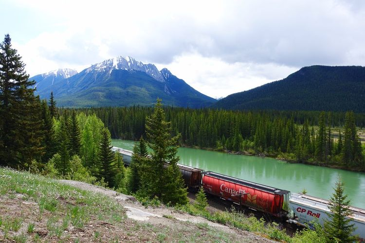 Alberta Canada Road Tripping Abventure Exploring Travel Green Railway Freight Train Sky Mountain Nature