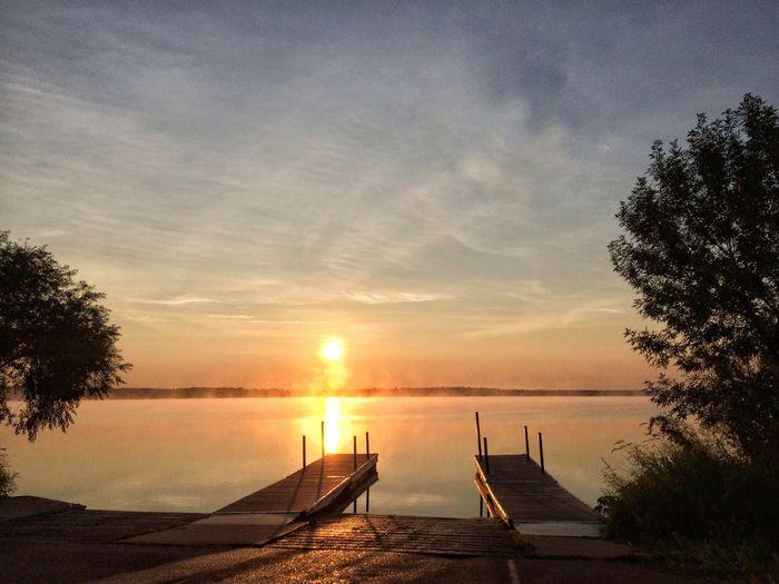 Good Morning Sunrise Lake Bemidji Bemidji Minnesota Lake View Docks Sunlight Foggy Morning