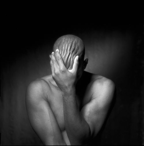 despair Light Life Self Portrait Blackandwhite One Person Sadness Real People Indoors  Hand Shirtless Human Body Part Depression - Sadness Emotion Hands Covering Eyes Men Human Hand