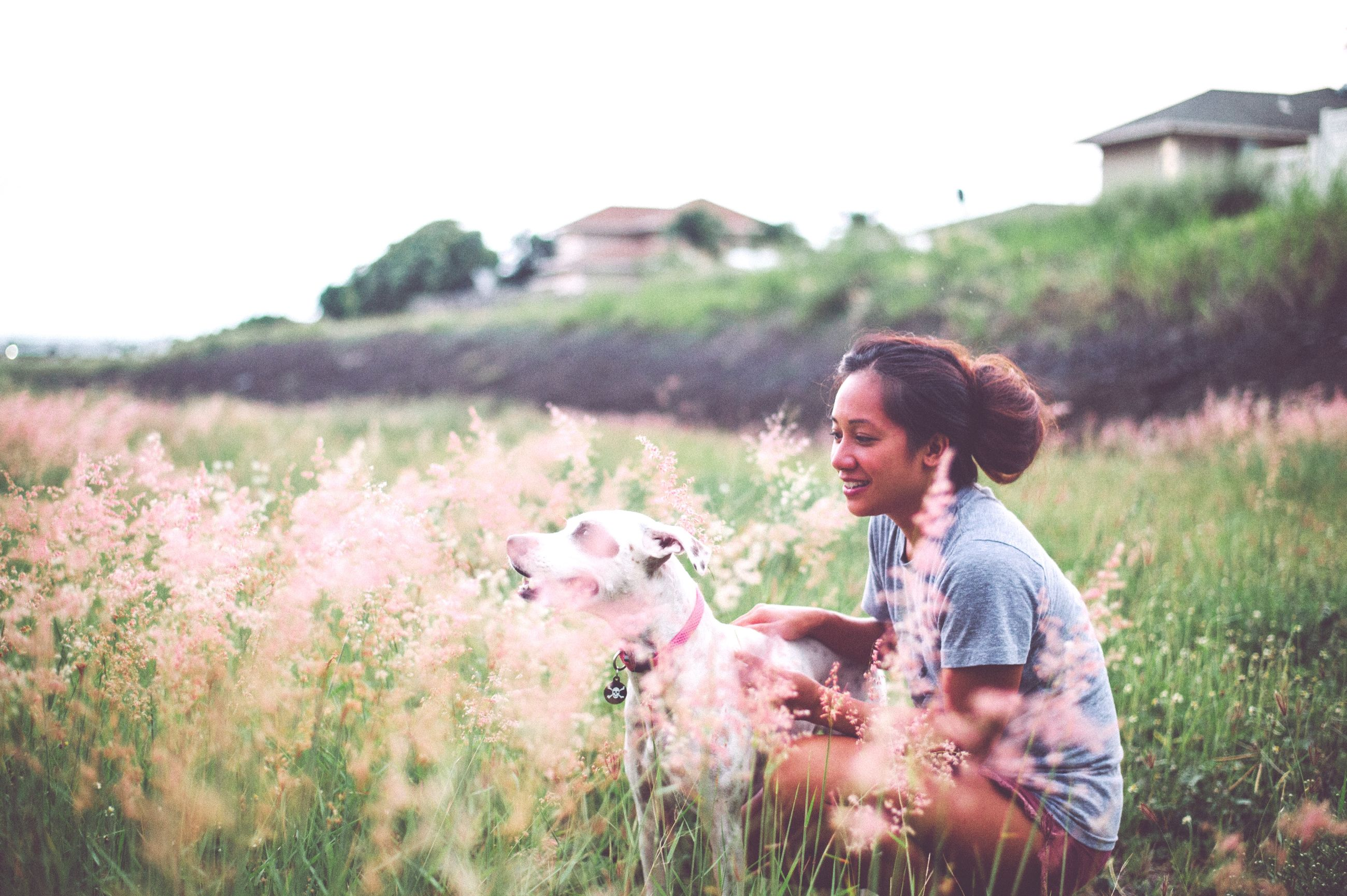 field, grass, person, young adult, lifestyles, casual clothing, leisure activity, looking at camera, standing, portrait, young women, landscape, smiling, clear sky, three quarter length, grassy, happiness, front view