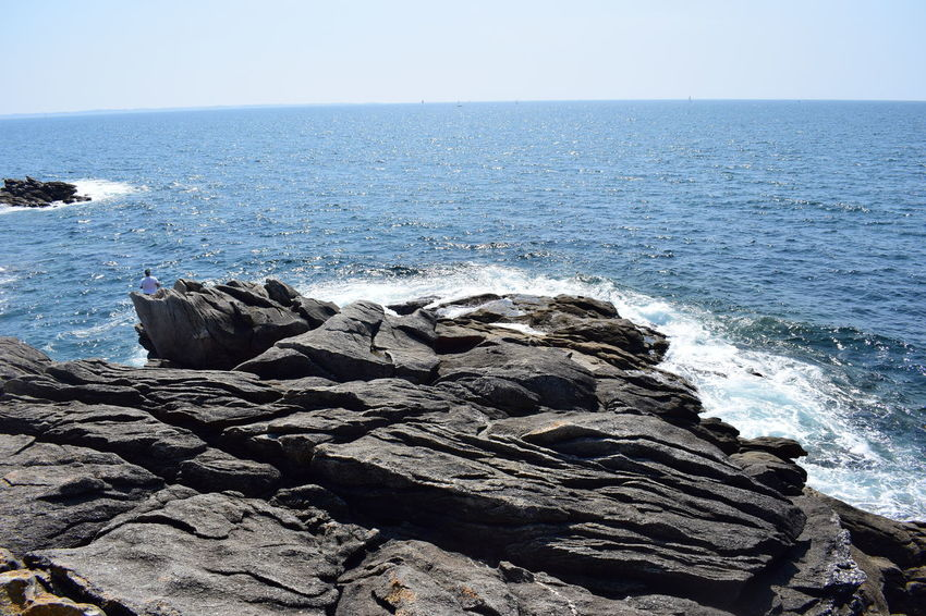 Rocky sea shore, waves, white water Beach Beauty In Nature Breaking Clear Sky Day Horizon Horizon Over Water Land Nature No People Outdoors Rock Rock - Object Rock Formation Rocky Coastline Scenics - Nature Sea Sky Solid Tranquil Scene Tranquility Water