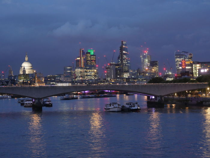 London at night Architecture Building Exterior Built Structure City Cityscape Cloud - Sky Illuminated Modern Nature Night No People Outdoors Reflection River Sky Skyscraper Tower Travel Destinations Urban Skyline Water Waterfront