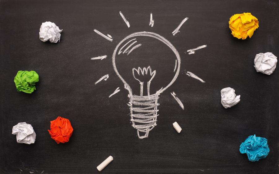 Many ideas Blackboard  Business Concept Chalk Chalkboard Conceptual Photography  Creative Creativity Crumpled Paper Ideas Light Bulb Many