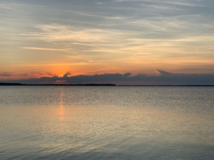 Sky Sunset Beauty In Nature Scenics - Nature Water Tranquil Scene Tranquility Cloud - Sky Sea Waterfront Idyllic Orange Color Nature No People Non-urban Scene Horizon Rippled Outdoors Reflection Lagoon
