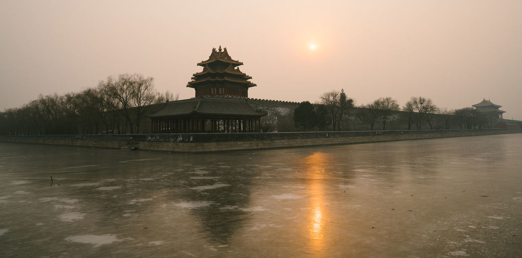 Sunset of Forbidden City Architecture Arrival Landscape No People Outdoors Sky Sunset Travel Travel Destinations Tree Water