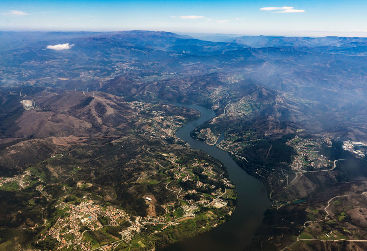 Cloud Portugal Aerial View Duero From Plane Mountain River Sky