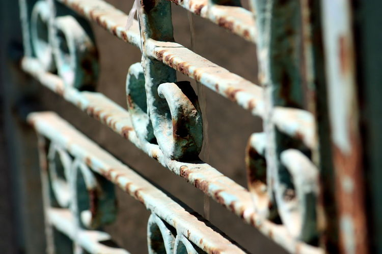Close-up of rusty metal gate