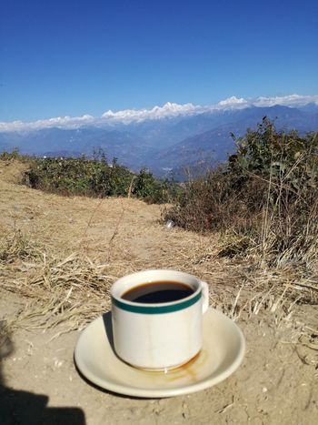 I love Nepal, people, nature, culture, everything 💗 Beautiful Places Around The World Breathtaking View Coffee - Drink Coffee Cup Coffee Time Day Drink Exceptional Photography EyeEm Best Edits Himalayas I Love Mountains! Mountain Mountain View Mountain_collection Nagarkot Nature Nature World Nepal Travel No Edit/no Filter No People Outdoors Sunlight Tranquility Trekking