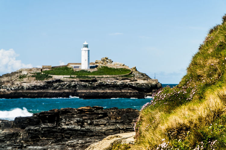 Lighthouse of Godrevy. Godrevy Beach Leuchtturm St Ives Bay St. Ives Cornwall Beach Blue Sky Cornwall England Godrevy Godrevy Lighthouse Leuchtturm Cornwall Leuchttürme Lighthouse_lovers Lighthousephotography Pilcher Rosamunde_pilcher Tide Holiday Moments