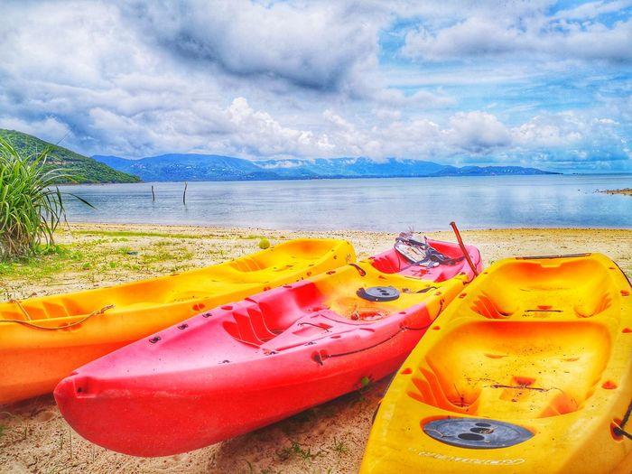 ทะเล และเรือ Huawei P20 Water Sea Mountain Multi Colored Sand Kayak Sky Landscape Cloud - Sky Canoe