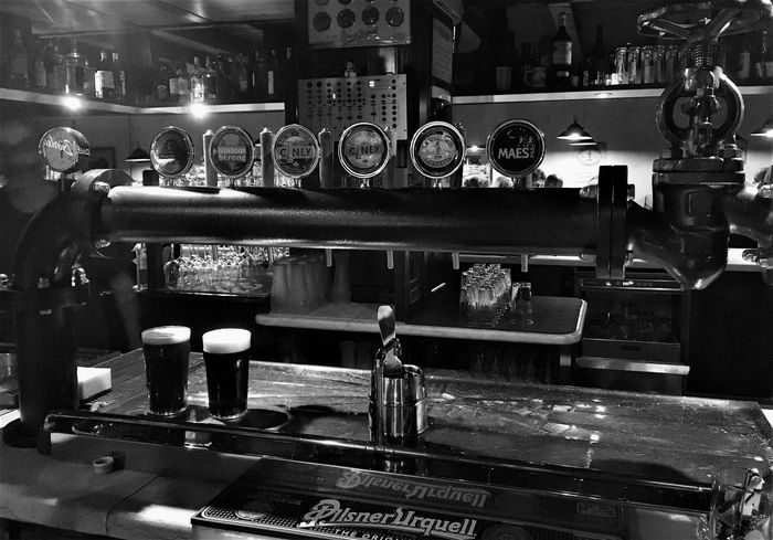 Pub... Music Beer Glasses Pub Your Ticket To Europe Black And White Illuminated Indoors  Night
