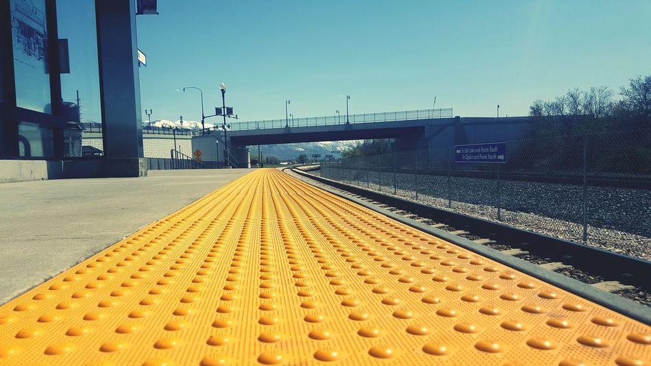 Ground Level View Railroad Track Yellow No People Outdoors Sky Uta Frontrunner Layton Station Layton, UT