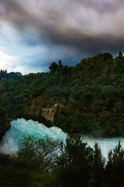 Water Tree Cloud - Sky Plant Sky Scenics - Nature Beauty In Nature Tranquil Scene Tranquility Nature No People Land Outdoors New Zealand Huka Falls Huka Falls, NZ New Zealand Scenery New Zealand Beauty New Zealand Landscape River Rapids White Water Rapids  colour of life Storm Stormy Sky