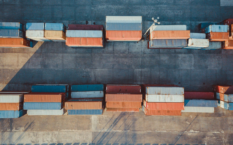 Aerial view of cargo containers at port