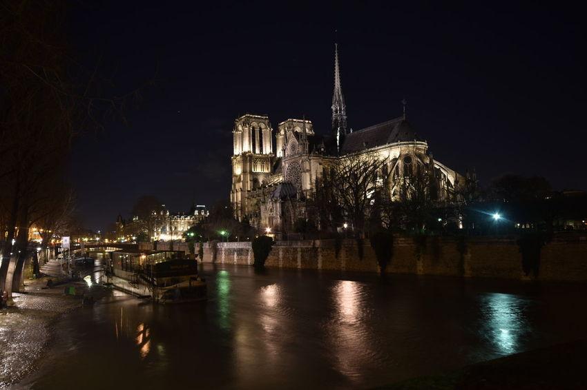 River Seine Notre Dame De Paris Paris Nightphotography EyeEm Selects Night Illuminated Cityscape Travel Destinations Reflection City No People Building Exterior Outdoors