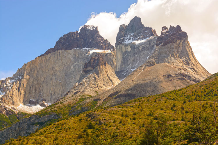 Dramatic peaks called cuernos del paine  in torres del paine national park in patagonian chile.