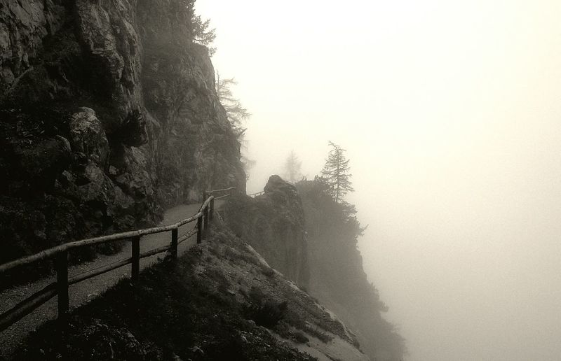 At the edge of the World Austria Werfen Eisriesenwelt Mountains Nature Walking On A Hike Monochrome Black And White Blackandwhite Mist Misty Mystic Fog Foggy Hiking Hiking Trail Walking Trail Black & White Scenic View Scenery Scary Mountain