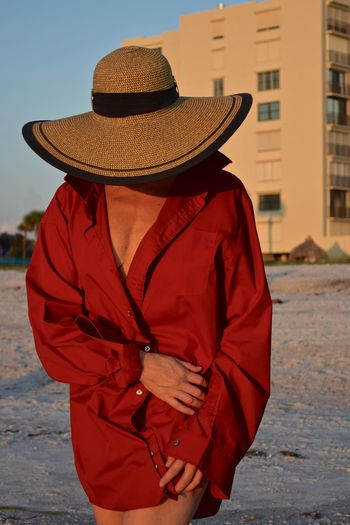 Lady in Red Shirt and Hat #Ladyinred #sunset #sun #clouds #skylovers #sky #nature #beautifulinnature #naturalbeauty #photography #landscape Beach Life Beach Walk Beach Walk At Sunset Day Lady In Red Outdoors Urban Fashion Jungle