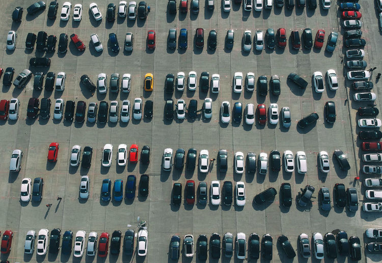 In A Row Large Group Of Objects Arrangement No People Order Backgrounds Transportation Car Full Frame Mode Of Transportation Motor Vehicle Side By Side Choice Variation Indoors  High Angle View Collection Day Multi Colored Still Life