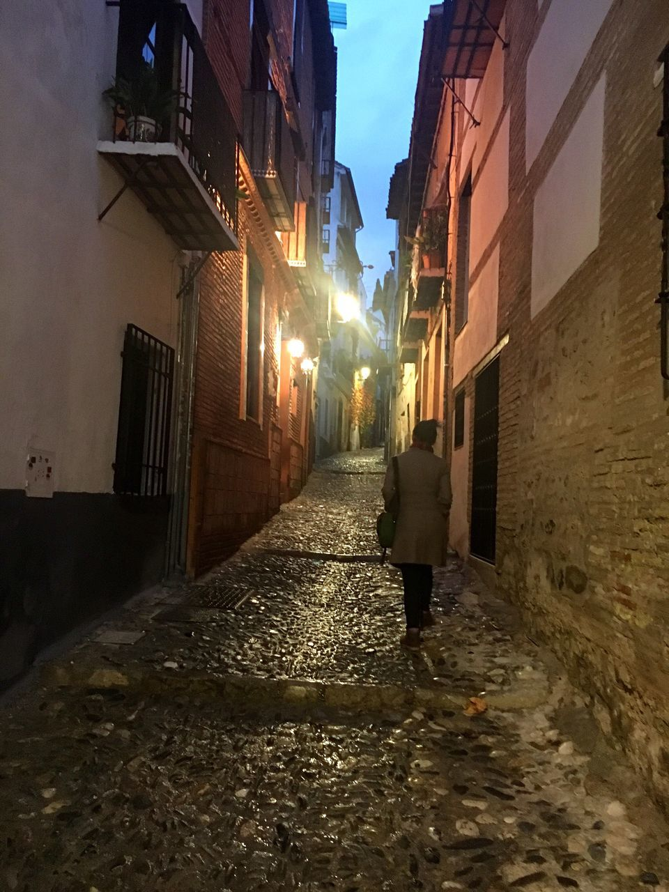architecture, building exterior, built structure, cobblestone, full length, the way forward, street, outdoors, walking, alley, sky, walkway, night, illuminated, one person, city, people