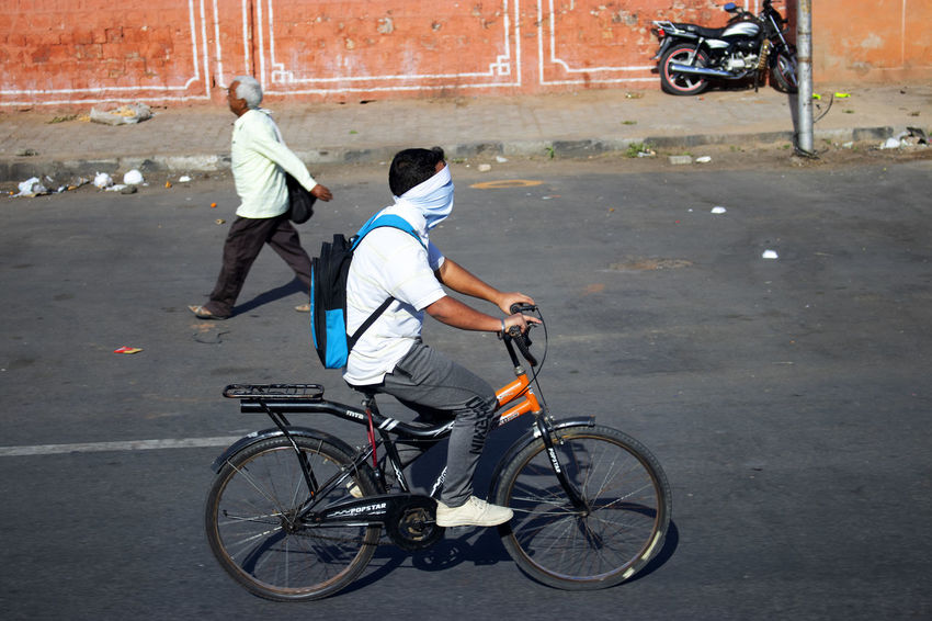 Bike bandit Transportation Bicycle Men City Full Length Road Mode Of Transportation Activity Motion Street Riding Day Adult on the move Jaipur