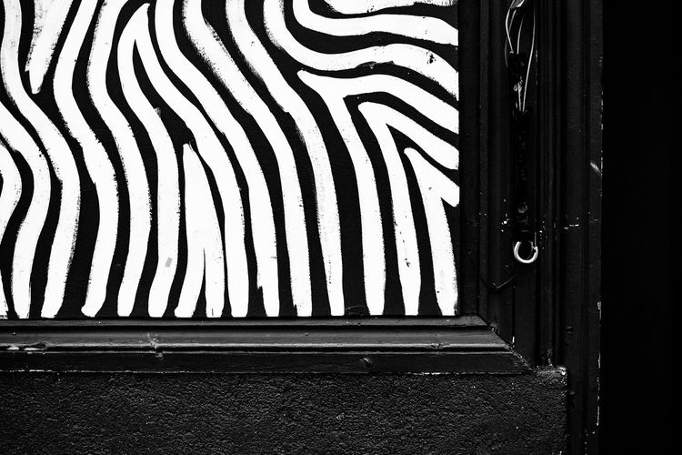 Zebra Fujifilm_xseries Streetphotography London No People Architecture Pattern Built Structure Striped Close-up Day Building Exterior Outdoors Wall - Building Feature Door Entrance Wood - Material White Color Black Color Building Animal Textured  Metal