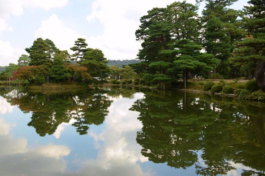 Trees reflect on the water of a quiet lake in a Japanese garden, Kanazawa, Japan. Reflection Lake Tranquility No People Scenics - Nature Tranquil Scene Japan Travel Destinations Lush Foliage Trees Reflection On Water Japanese Garden Water Reflections Green Color Outdoors