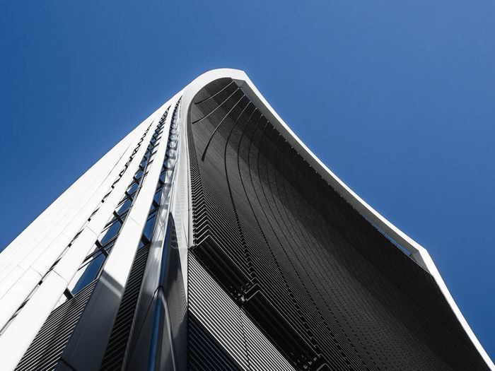 Sky Blue Low Angle View Clear Sky Built Structure Building Exterior Architecture Modern Nature Building No People Day Metal Sunlight Office Building Exterior Office Outdoors Copy Space City Sunny Skyscraper Financial District  Sucess Office Building Tall - High Financial District