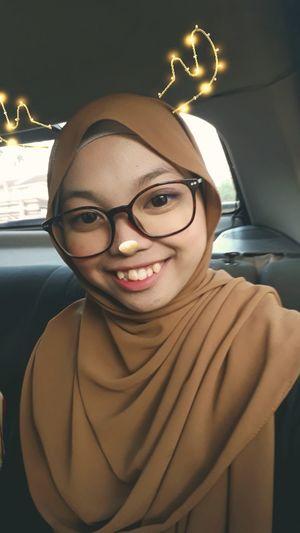 Young Women Eyeglasses  Portrait Smiling Cheerful Illuminated Happiness Women Car