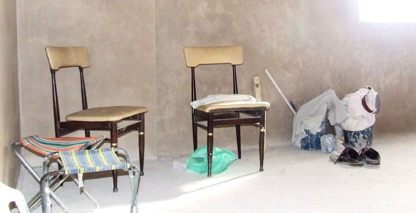 Building Lot Building Site Chair Effort Gesso Group Of Objects Plaster Plasteres Vintage Chairs Work Workmanship