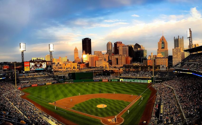 Two of my favourite things. Baseball and sunsets. ⚾️ 🌅 Baseball Sunset Gleaming Architecture Urban Skyline Skyscraper Outdoors Evening Built Structure City Cloud - Sky Sky Modern Cityscape Stadium Relaxing Taking Photos Warmth Tranquility Calm
