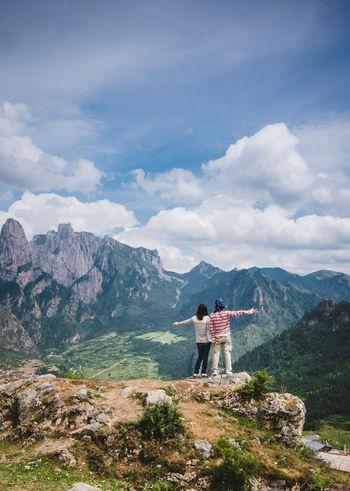 Hug the nature Gannan Gansu Hiking Idyllic Landscape Leisure Activity Lifestyles Men Mountain Mountain Peak Mountain Range Nature Rear View Scenics Sky Standing Togetherness Tourism Tourist Tranquil Scene Zhagana