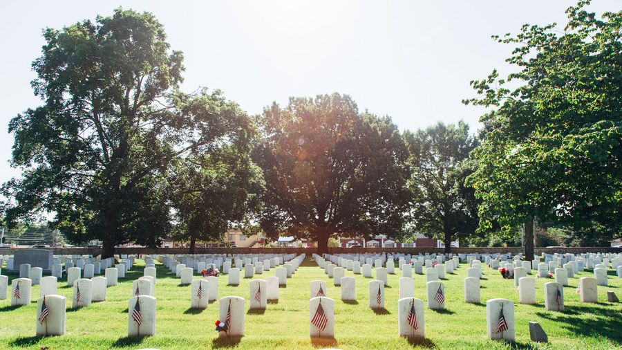 American Flags By Tombstones At Cemetery Against Trees