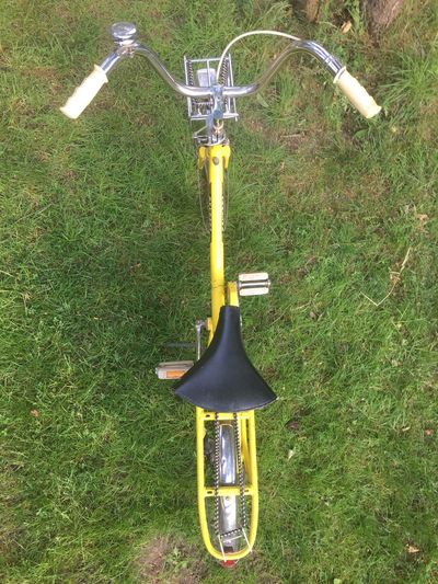 High angle view of bicycle on field