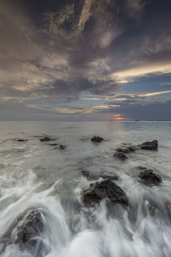 Seascapes in Port Dickson Malaysia Beauty In Nature Blue Hour Landscape Cloud - Sky Day Horizon Over Water Idyllic Malaysia Malaysia Scenery Motion Nature No People Outdoors Power In Nature Scenics Sea Seascape Sky Sunset Tranquil Scene Tranquility Water Wave
