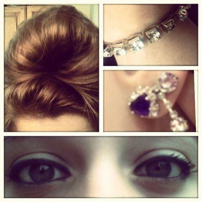 Lookin Fly Today Earrings doubletap for likes hair bun eyes pretty beautiful jewelry bracelet diamonds earrings piercings