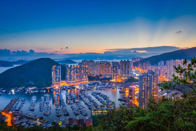 Beautiful sunset at aberdeen typhoon shelters,hong kong