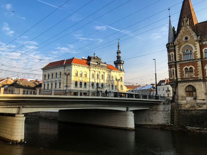 Bridge above Somes river in Cluj Napoca, Romania Cluj-Napoca Architecture Bridge Bridge - Man Made Structure Building Building Exterior Built Structure City Cloud - Sky Cluj Napoca Connection Day Nature No People River Sky Tourism Travel Travel Destinations Water Waterfront