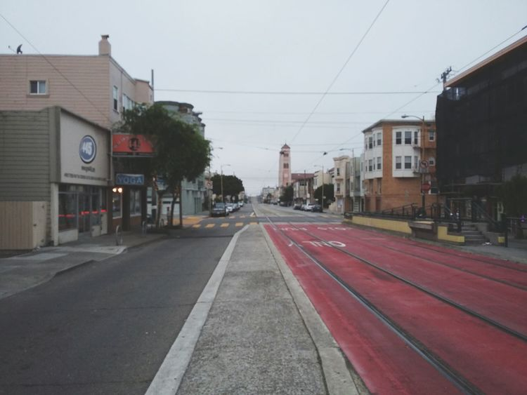 Fog and the Inner Sunset. · San Francisco SF California CA USA In The Middle Of The Road Road Street Horizon Perspective Vanishing Point Outdoors Architecture Urban Landscape Light Gray Dark Gray
