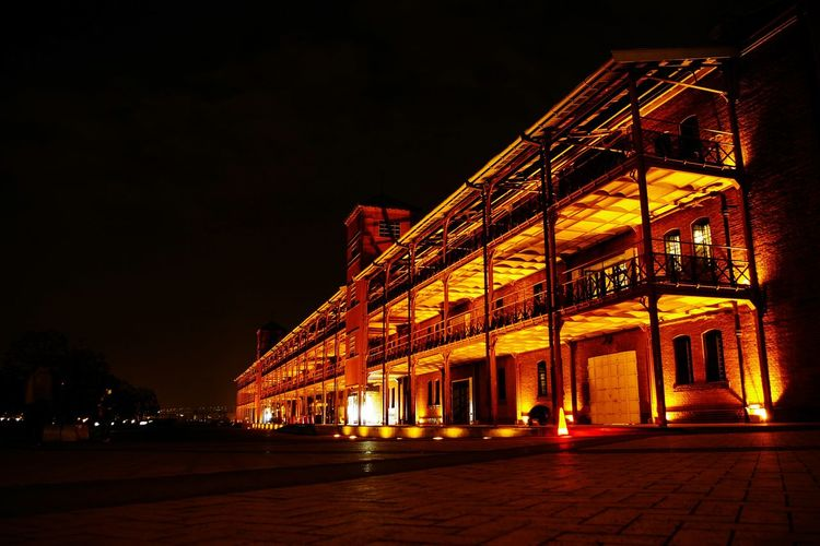 Night Architecture Arts Culture And Entertainment Illuminated Built Structure Stage - Performance Space No People Nightlife Building Exterior Outdoors Concert Hall  Sky Yokohama 赤レンガ倉庫 横浜