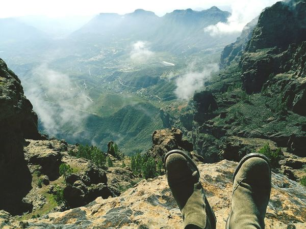 Day Outdoors Nature Beauty In Nature Tree Mountain Sky Boots Hiking Walking Adventure Green Color Beauty In Nature Growth Freshness Plant Las Palmas De Gran Canaria GranCanaria Travel Tourism Vacations Nature Succulents Landscape HuaweiP9 Finding New Frontiers