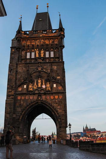 View of upper tower in prague from below