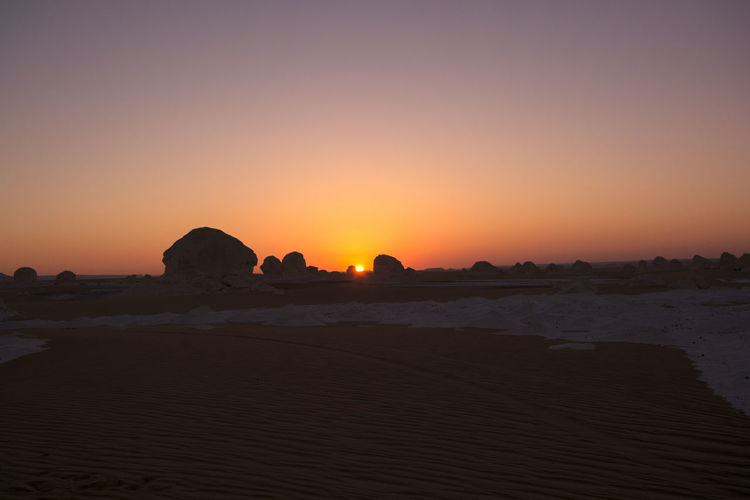 White desert , Egypt Desert Egypt Hot Day Tranquility Travel Desolation Lonley Orange Color Purple Sand Sunset