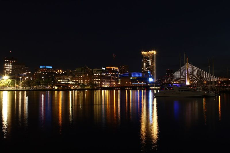 Td Garden Illuminated Night Building Exterior Architecture Built Structure Water Reflection
