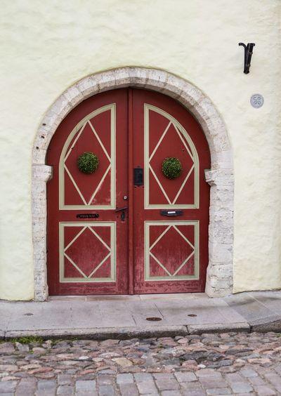 Exterior of closed door