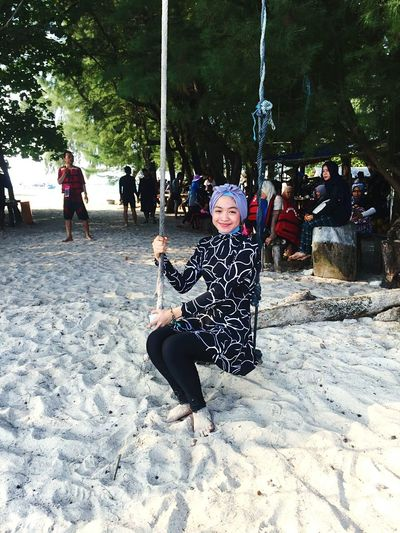 Playing ayunan hahaha Sand Nature Beach Young Adult
